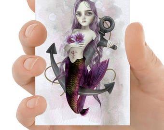 Mermaid ACEO Card - Mermaid And Anchor - Artist Trading Card - Sea Maiden