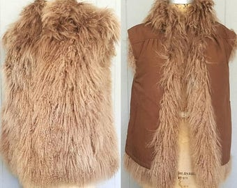 SALE Mongolian Lamb Fur Vest / Tibetan 1980s / bohemian chic / REVERSIBLE / S-M