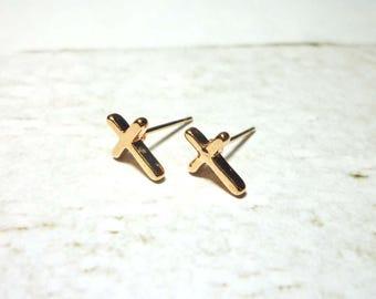 Rose Gold Cross Stud Earrings, Dainty Cross Earrings