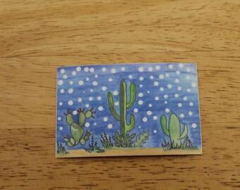 Starlit Cacti Weatherproof Sticker - Vinyl Sticker - Laptop Decal - Outdoor Sticker - Art Decal - Environmental Sticker - Southwest Sticker