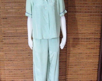 Vintage Pajama Set, 40s 50s Cold Rayon Seafoam, High Waist Side Zip Pants, Short Sleeve Blouse Top, Evelyn Pearson Lounge Apparel 26 Waist