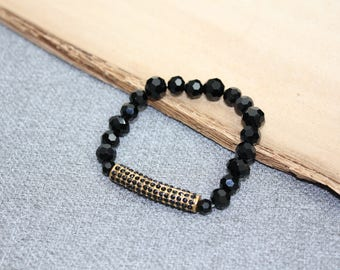 bracelet chic, élastique, bille de cristal noir, mariage, métal texturé, petit diamant, strass, cadeau noel, christmas gift