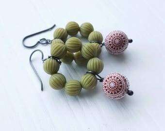 SALE fair isle earrings - christmas jewelry, red, green, snowflake, scandinavian pattern - sterling silver hooks