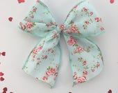 Girl hair bow, Little girl bow, flower bow, hair clip, sailor bow, Valentines day hair clip, floral bow, blue hair bow, hairbows, baby bow