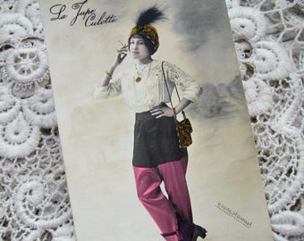 Antique French fashion photo postcard, Antique fashion RPPC, Antique feminist photo postcard, Edwardian girl with skirt-trousers, cigarette