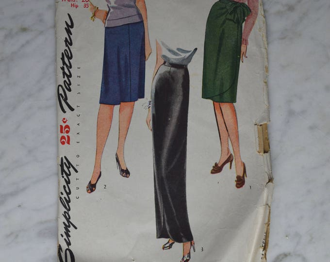 1950s Simplicity Dress Pattern, Wrap Skirt Pattern, Long Evening Skirt, Women's Skirt Pattern, Vintage Skirt Pattern, Pattern, No 1122