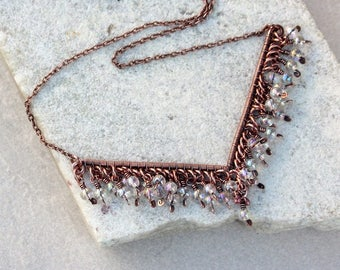 Clear Beaded Antique Copper Wire Wrapped Necklace, Contemporary, Wire Jewelry, Gift For Her, Canada