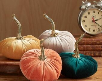 Scented Velvet Pumpkins, SET of 4:  orange,  mustard,  dark green,  light taupe brown