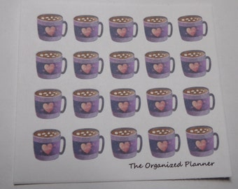 20 Hot Chocolate Stickers / Cocoa Stickers / Great for your Erin Condren Life Planner
