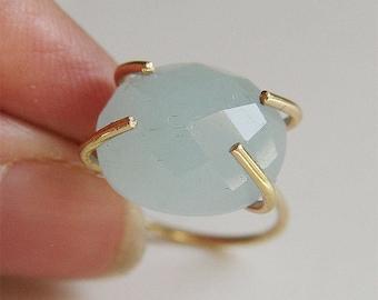 Aquamarine Oval Gold Ring OOAK