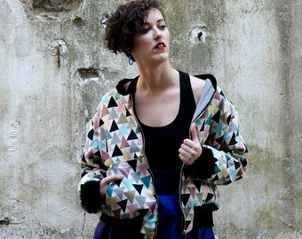 Bomber Jacket Geometric Triangle Pattern, Modern Minimal Jacket, Everyday Edgy Fashiom