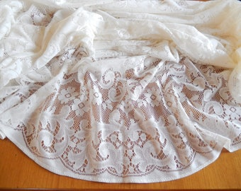 "vintage lace tablecloth, Quaker Lace Co., ivory, 90"" x 62"", oval, cotton/polyester, table linens, home decor"