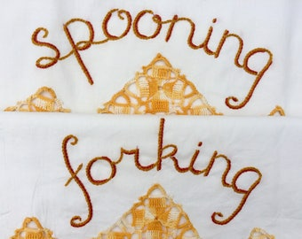 Spooning Forking, Pillowcases, Hand embroidered, Boho, Vintage, Repurposed, Boho bedroom, Couples gift, Girlfriend gift, OOAK, Sexy decor