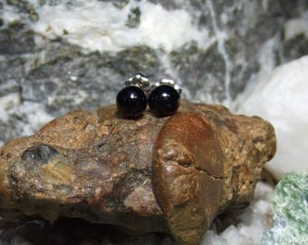 Longer Post Black Onyx 6mm Round Stud Earrings Earings Titanium Post and Clutch Hypo Allergenic Handmade in Newfoundland Chalcedony