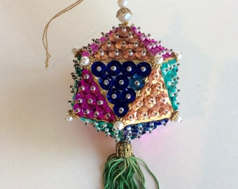 Vintage Pin and Sequin Christmas Ornament