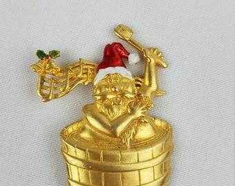 Vtg JJ Jonette Christmas holiday singing Santa brooch pin signed collectible gold tone