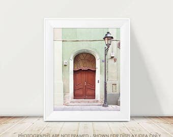 Door Photograph, Europe Photography, Travel, Wanderlust, European, Poland Photography, Mint and Red Decor, Art Print, Adventure, City Street