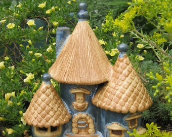 Ceramic Fairy House outdoor hand built ooak frost blue golden brown gardener sculpture home decor art damaged second discountr