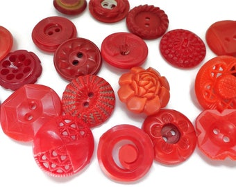 Red Vintage Buttons - 21 Fun Styles for Sewing Knitting Jewelry Supplies Beads