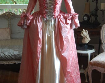 Pink silk dress cream satin skirt Marie Antoinette Victorian inspired rococo costume dress