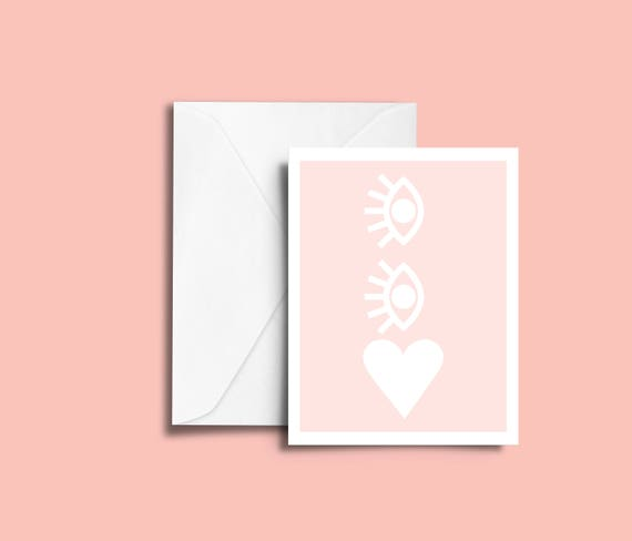 VALENTIN'S DAY Eyes on your heart // Valentine's day Card, Scandinavian Design, Pastel colors, abstract art