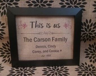 This is Us Family PERSONALIZED Burlap Print