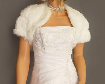 Faux fur bolero shrug jacket short sleeve in Mink bridal wedding stole coat wrap, cover up fur shrug FBA100 AVL in white & 3 other colors
