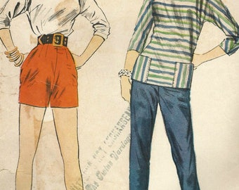 Vintage 50s McCalls 3065 Misses Sporty Tunic Top, Shorts and Clam Digger Pants Sewing Pattern Size 14 Bust 32