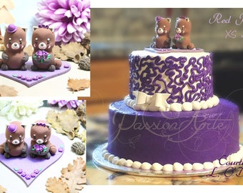 Unique Red Panda wedding cake toppers + felt base - bride groom personalized figurines purple fall autumn spring country barn farm custom