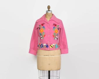 Vintage 60s Mexican Jacket / 1960s Embroidered Bubblegum Pink Cotton Cropped Hippie Jacket