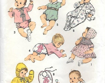 Simplicity 8761 1970s Newborn Layette Vintage Sewing Pattern 1 to 3 months