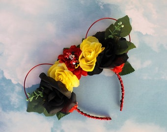 Minnie Mouse Ears   Floral Mickey Ears   Flower Crown Mickey Ears   Kids Mickey Ears