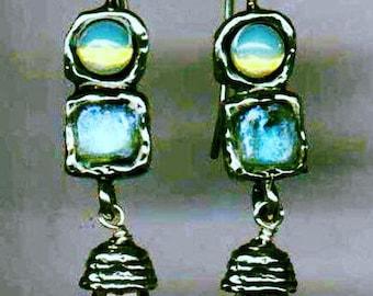 Sterling Silver Earrings, Roman Glass Earrings, Gemstones Earrings, sterling silver jewelry ,  dangling earrings , Israeli Jewelry