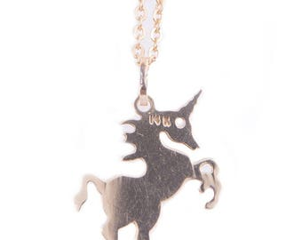 14K Yellow Gold Unicorn Pendant on a Gold-Filled Chain