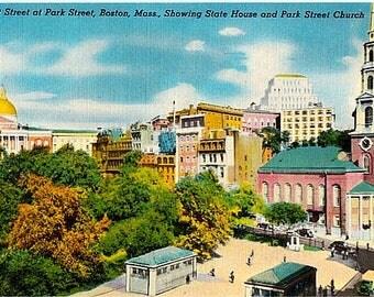 Vintage Boston Postcard - Tremont Street at Park Street (Unused)