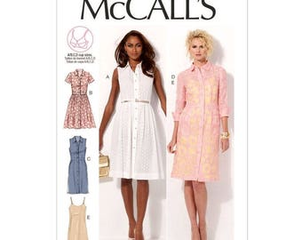Flared Shirt Dress Pattern McCalls 6696 Slip Dress Pleated Skirt Sleeveless Short or 3/4 Sleeve Womens Sewing Pattern Size 8 to 16 UNCUT