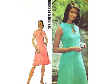 70s Keyhole Dress Pattern Simplicity 5564 Sleeveless or Short Sleeve Dress Woman Size 12 Bust 34 Vintage Sewing Pattern UNCUT