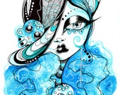 Blue Hair Black Hair Hair Day of The Dead Sugar Skull Girl Ink and Watercolor Illustration