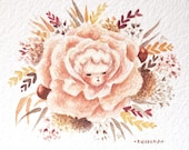 Flower Bébé n.5 // Original Watercolor Painting // Floral, Flower Baby, Flower Art, Flower Painting, Anthropomorphic, Rose Painting, Autumn