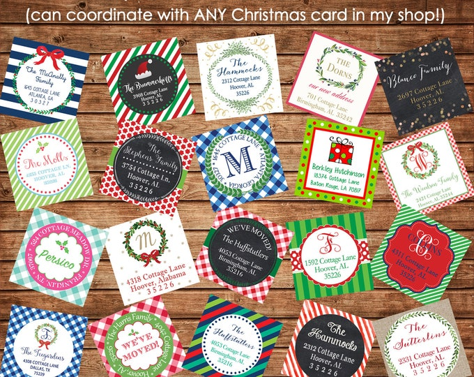 30 Christmas / Holiday Address Labels Stickers - Made to match ANY of my Christmas cards