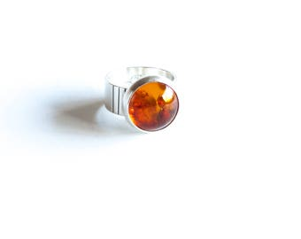 Cognac ring - sterling silver and warm golden Baltic amber round cocktail ring