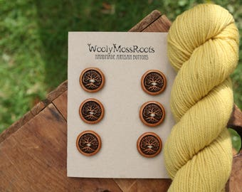 6 Yew Wood Tree Buttons- Oregon Yew Wood- Wooden Buttons- Eco Craft Supplies, Eco Knitting Supplies, Eco Sewing Supplies