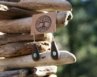 Turquoise & Black Walnut Earrings- Wooden Earrings - Natural Wood Jewelry- Eco Earrings