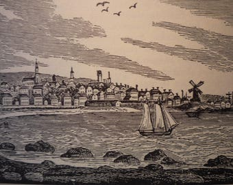 Gloucester Massachusetts Town Engravings - New England Antiquarian Society - framable gift town history harbor view coastal town 1800 scene