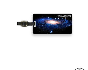 Luggage Tag Milky Way Galaxy You are Here Funny Space Luggage Tag - Printed Personalized Backs Custom Luggage Tag  - Single Tag