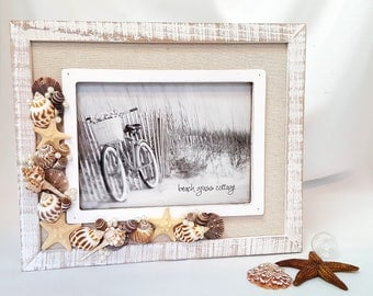 Beach Decor Shell Frame - Nautical Decor Seashell Picture Frame w Natural Linen Border -  5x7 or 8x10""