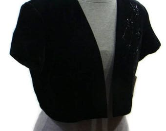 Vintage Black Velvet Bolero Jacket Vintage Bolero Jacket Formal Bolero Jackets Black Beaded Bolero Black Evening Bolero