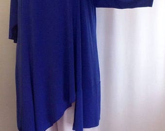 Plus Size Tunic, Coco and Juan, Lagenlook, Plus Size Top. Asymmetric, Tunic Top Sapphire  Blue, Knit Size 2 (fits 3X,4X)  Bust 60 inches