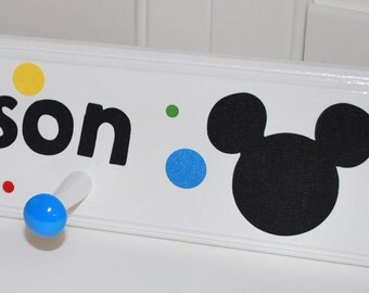 "28"" . 5 Pegs . Custom Children's Coat Rack Coat Rack . Mickey and Minnie Mouse"