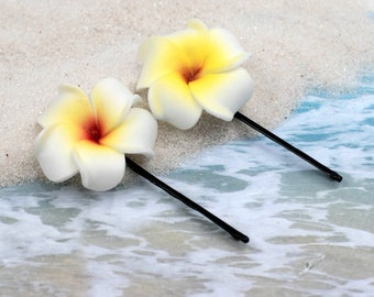 Yellow Plumeria Bobby Pins, 2pcs, 1 1/4 inch Flowers,   Floral Hair Pins